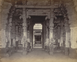Secundermalie [Skandamalai], near Madura. Interior of the entrance porch